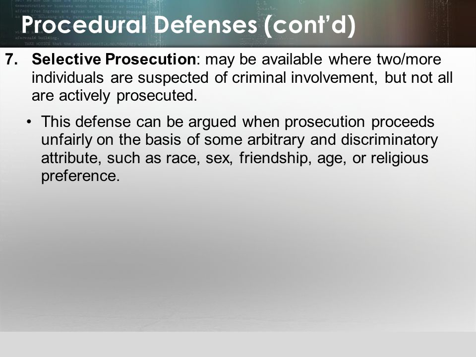 Procedural Defenses (cont'd)