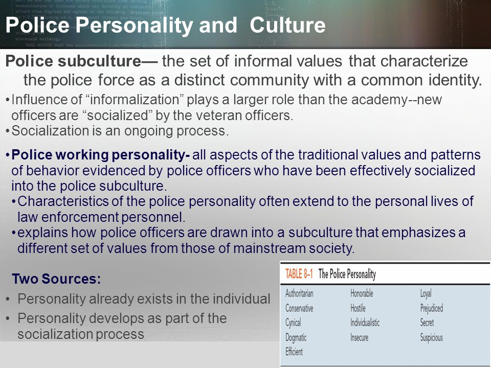 Police Personality and Culture