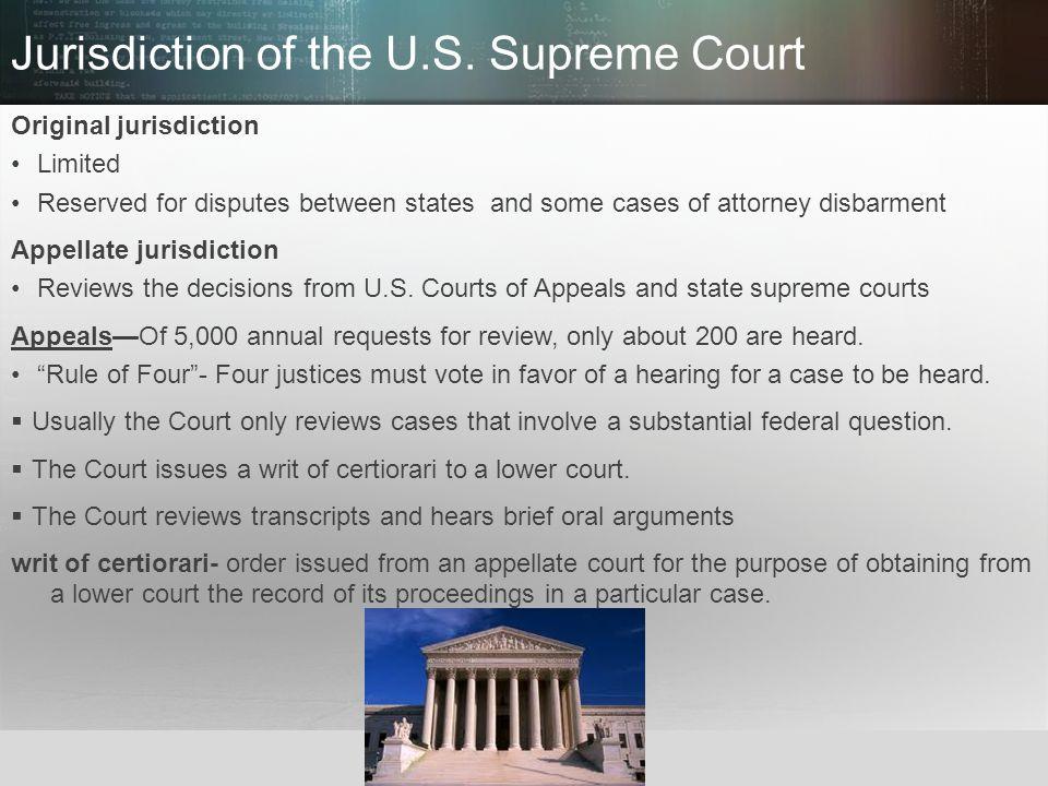 Jurisdiction of the U.S. Supreme Court