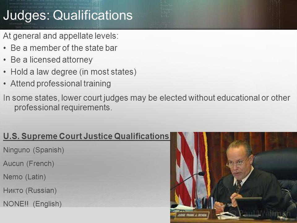 Judges: Qualifications