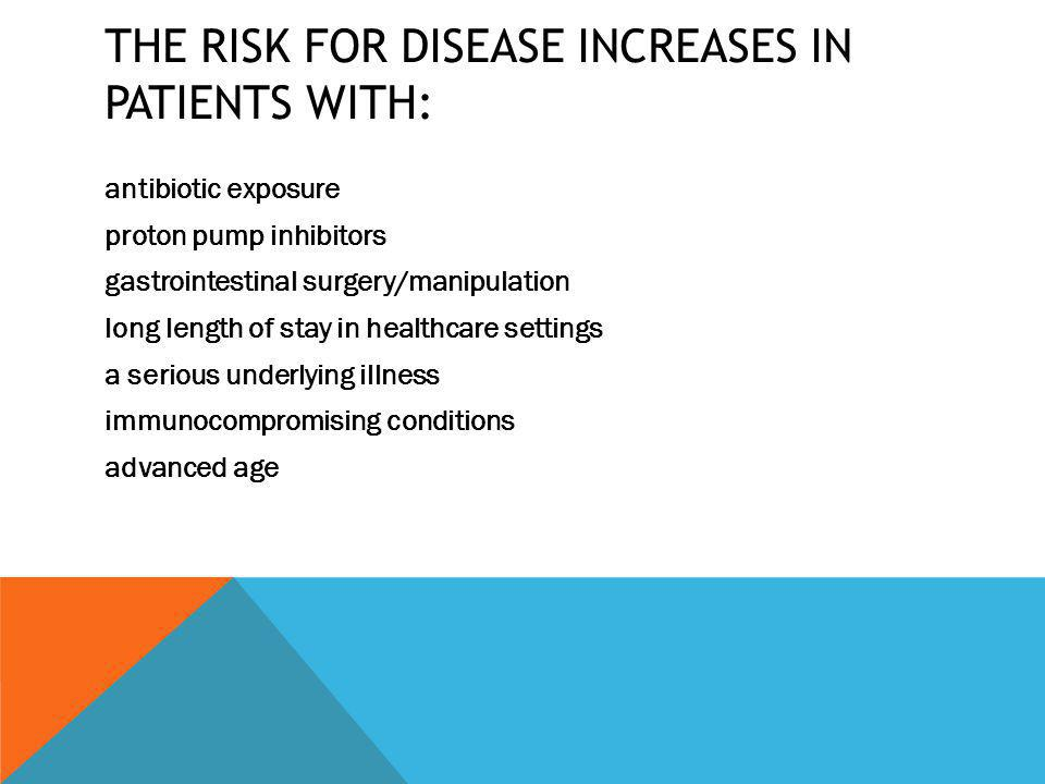 The risk for disease increases in patients with: