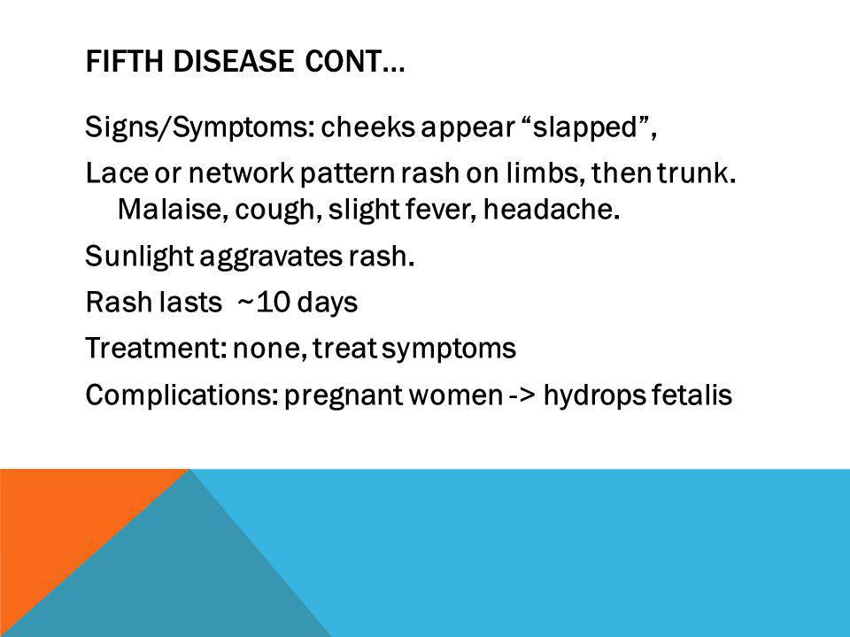 Fifth Disease cont…