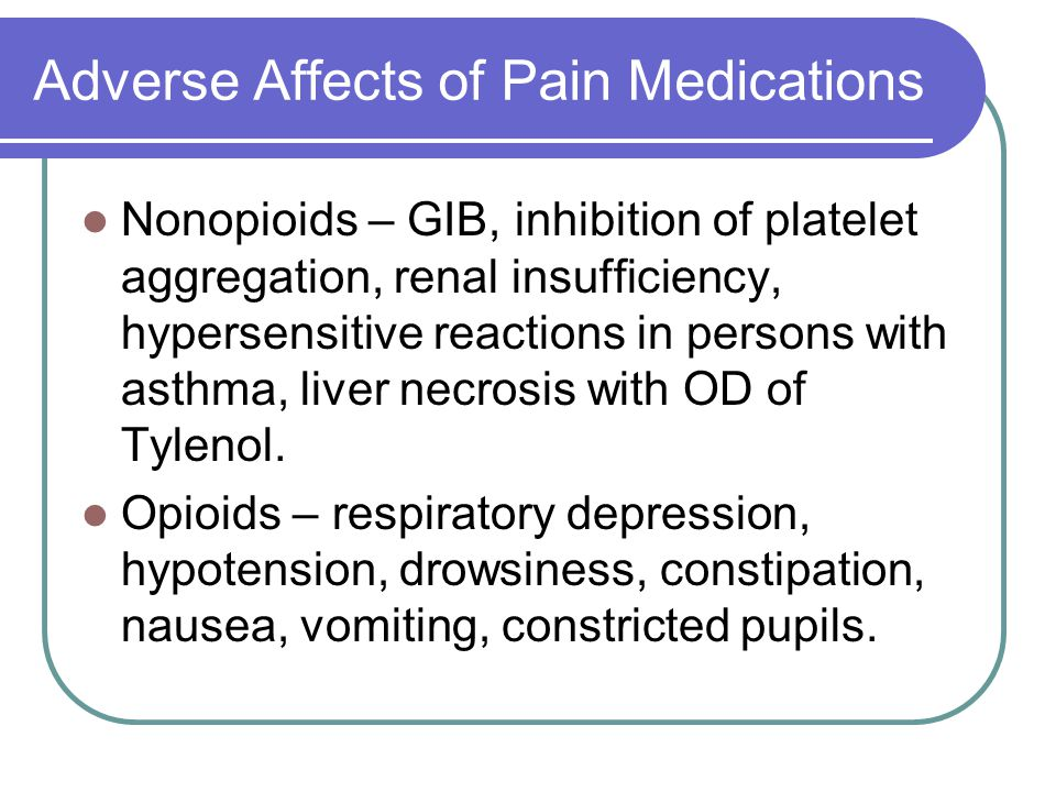 Adverse Affects of Pain Medications