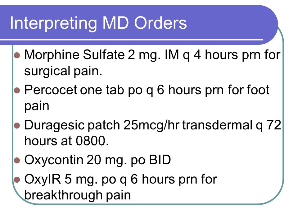 Interpreting MD Orders