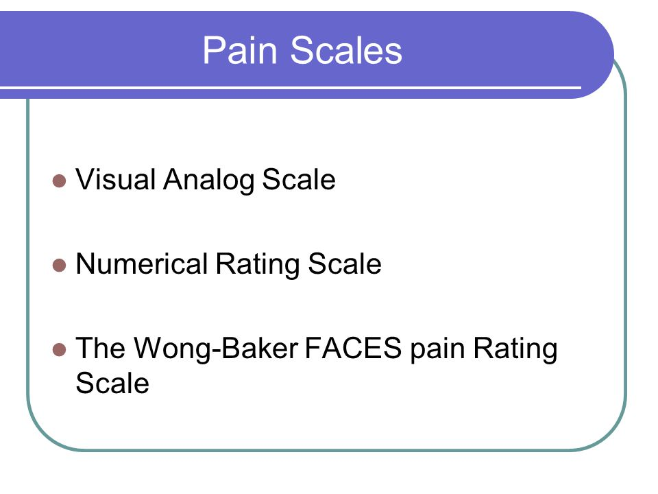 Pain Scales Visual Analog Scale Numerical Rating Scale