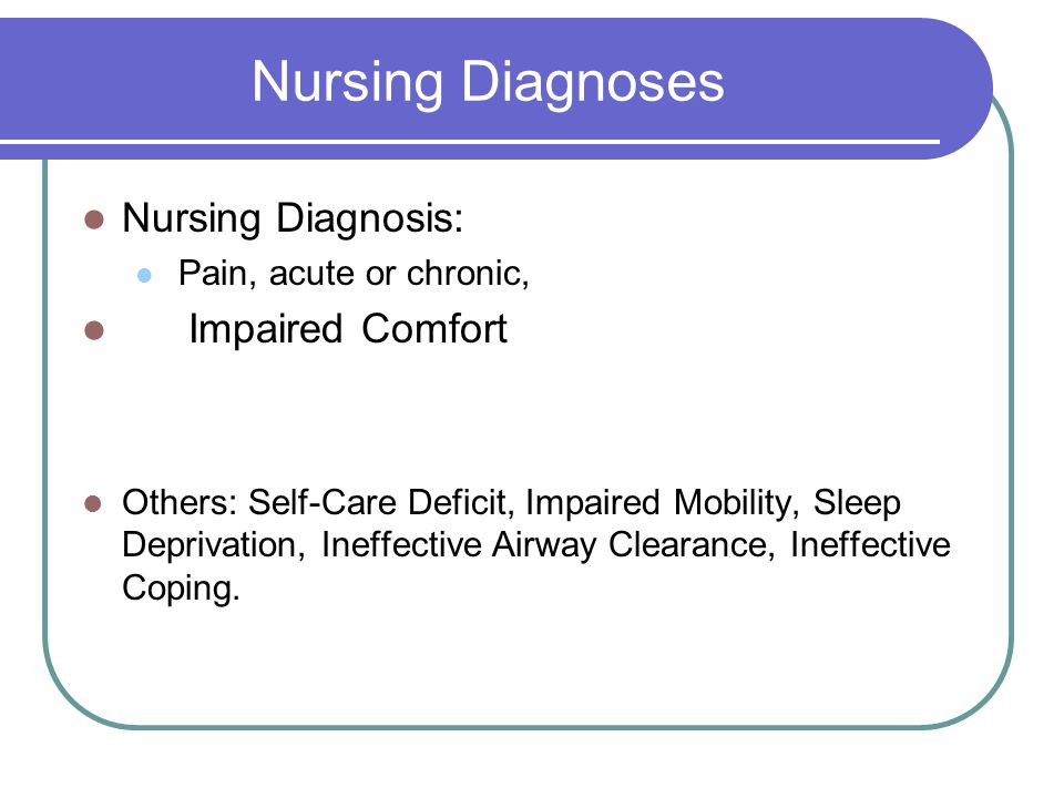 Nursing Diagnoses Nursing Diagnosis: Impaired Comfort