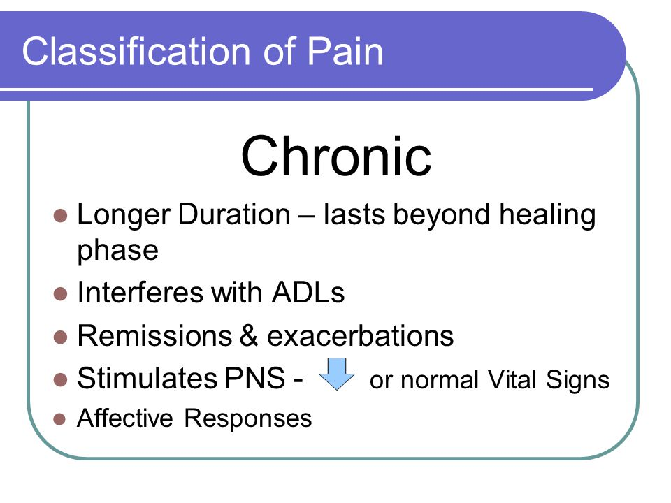 Classification of Pain