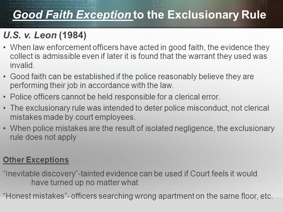 Good Faith Exception to the Exclusionary Rule
