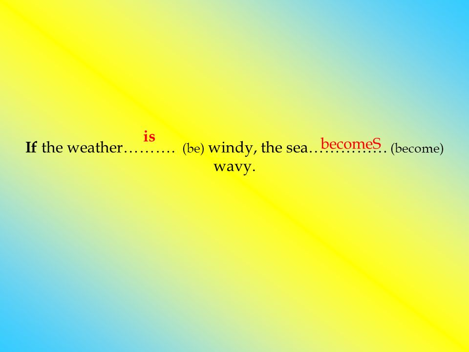 If the weather………. (be) windy, the sea…………… (become) wavy.
