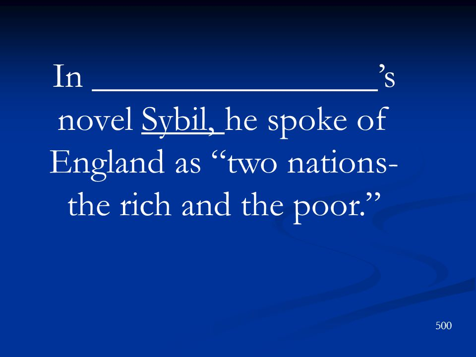 In ________________'s novel Sybil, he spoke of England as two nations-the rich and the poor.