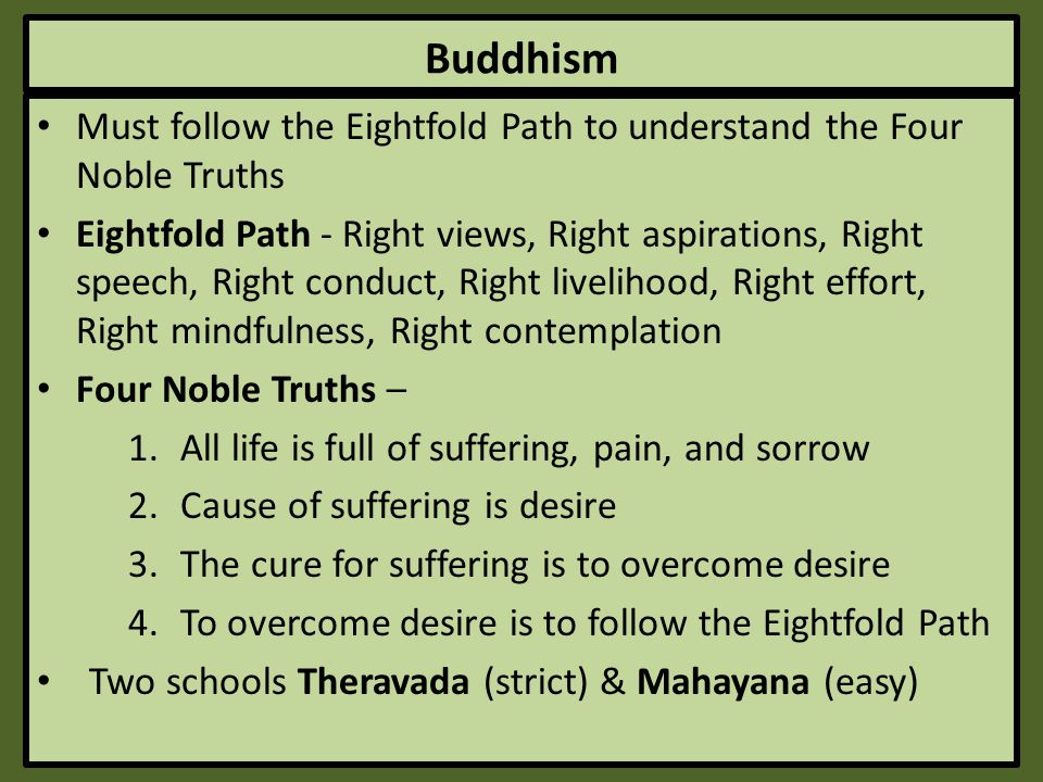 Buddhism Must follow the Eightfold Path to understand the Four Noble Truths.