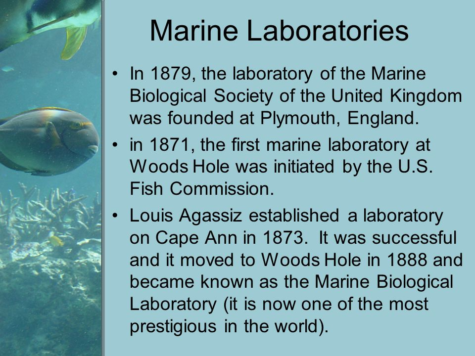 Marine Laboratories In 1879, the laboratory of the Marine Biological Society of the United Kingdom was founded at Plymouth, England.