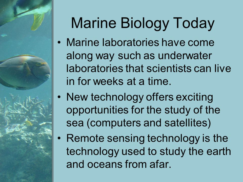Marine Biology Today Marine laboratories have come along way such as underwater laboratories that scientists can live in for weeks at a time.