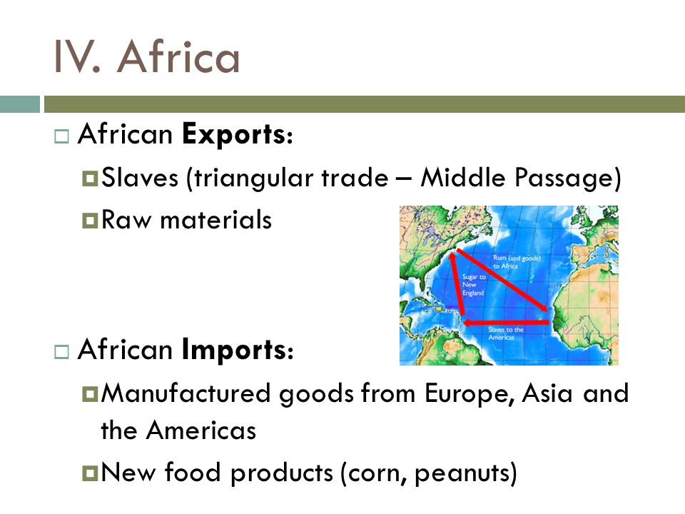 IV. Africa African Exports: African Imports: