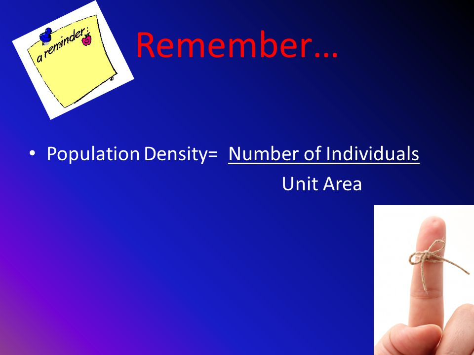 Remember… Population Density= Number of Individuals Unit Area