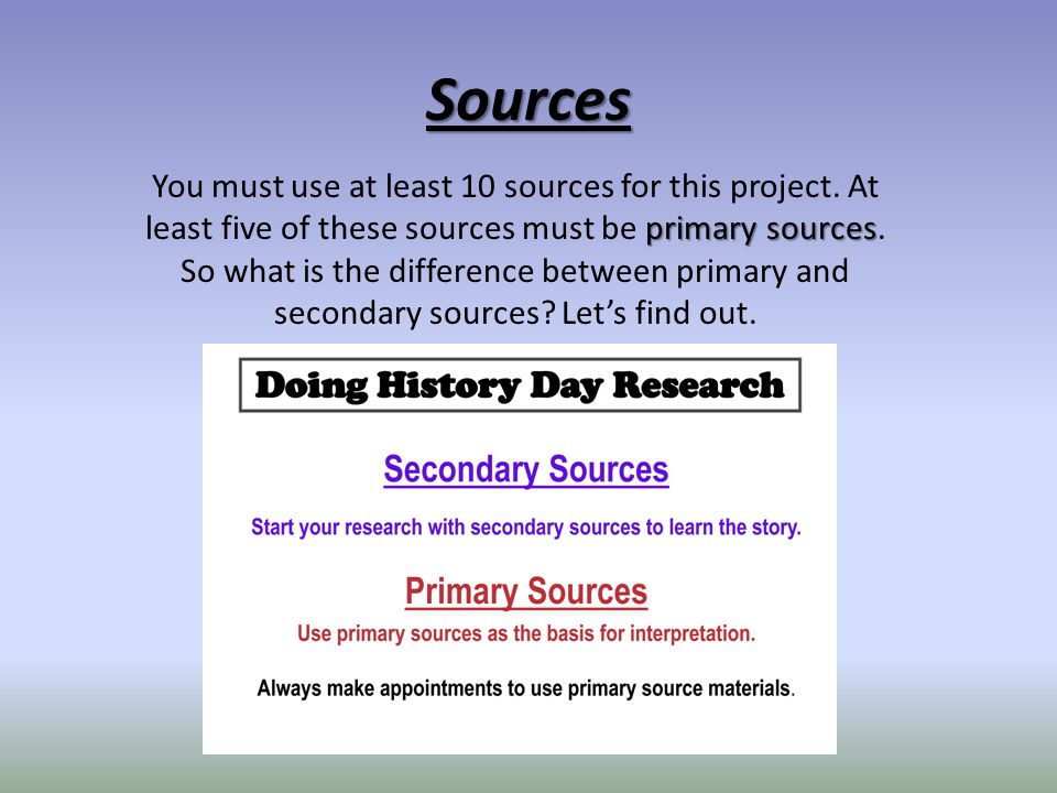 Sources You must use at least 10 sources for this project. At least five of these sources must be primary sources.