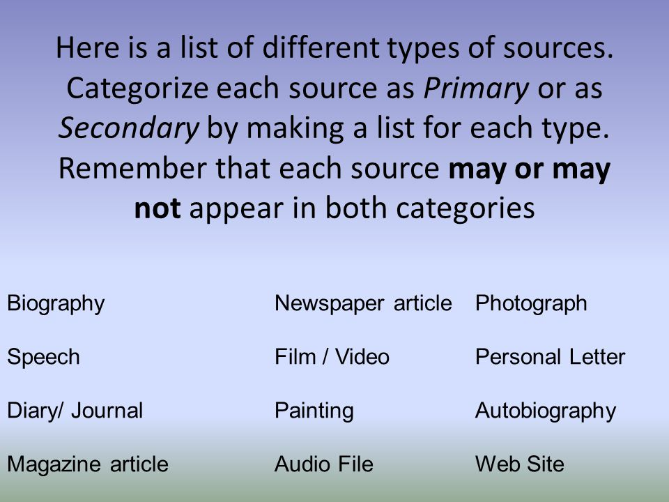 Here is a list of different types of sources