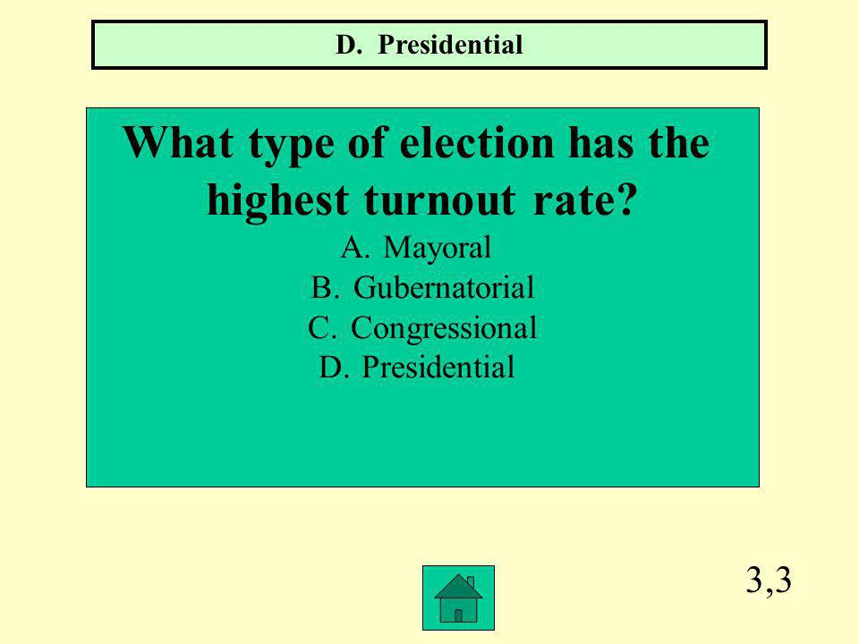 What type of election has the