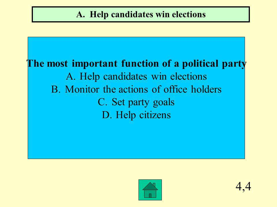 4,4 The most important function of a political party