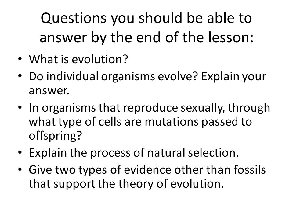Questions you should be able to answer by the end of the lesson: