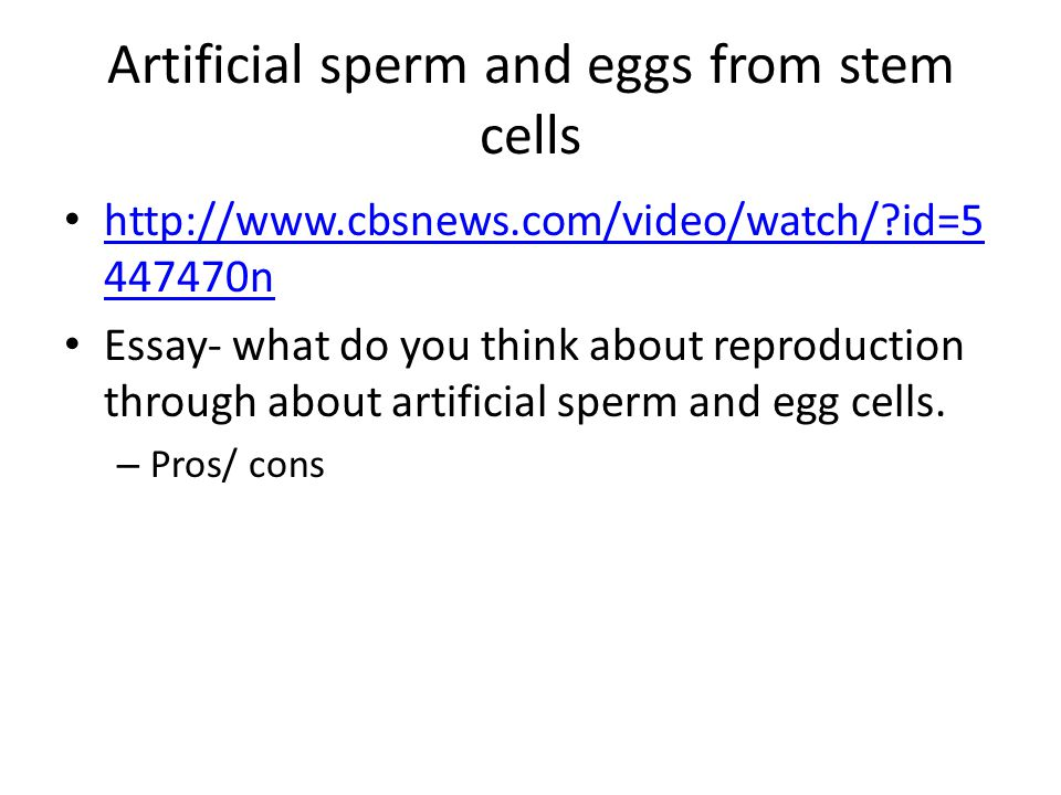 Artificial sperm and eggs from stem cells