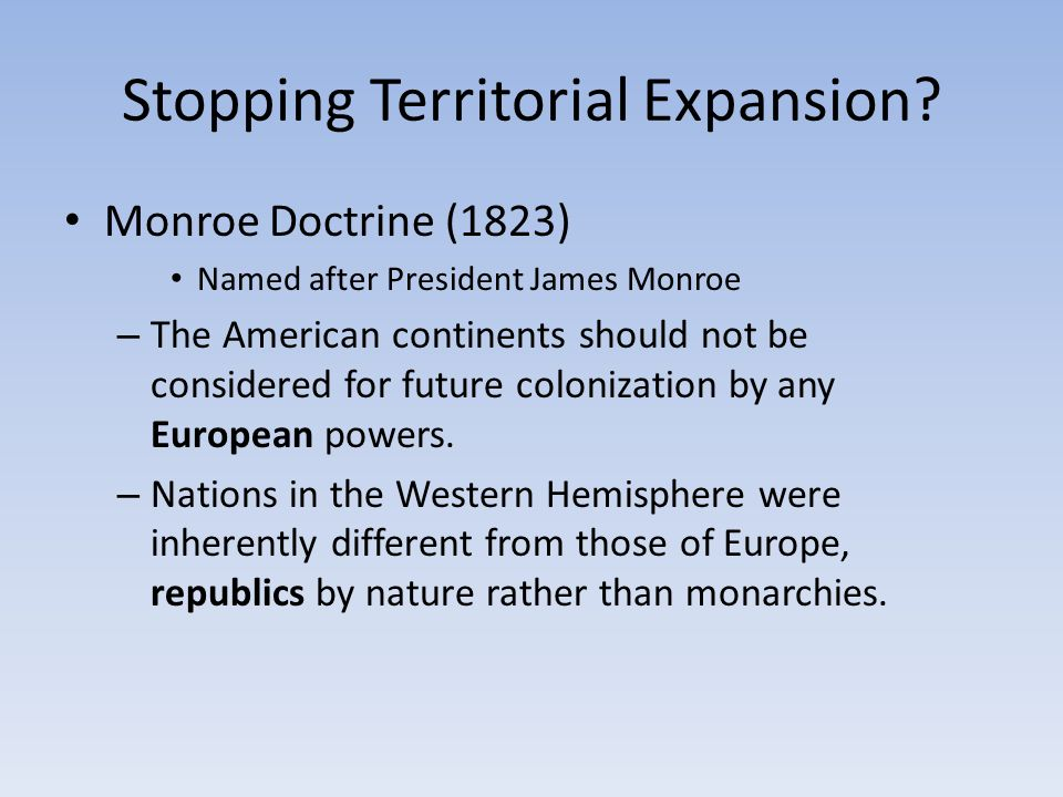 Stopping Territorial Expansion