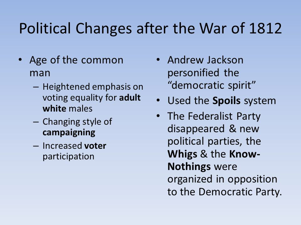 Political Changes after the War of 1812