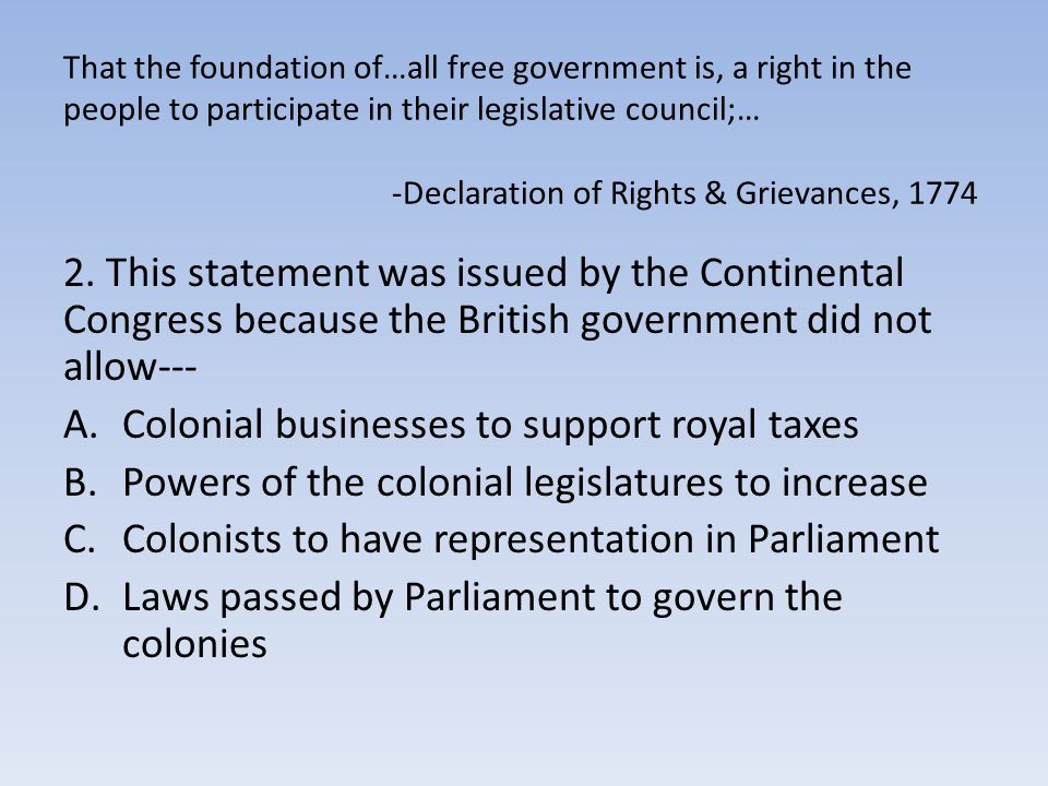 Colonial businesses to support royal taxes