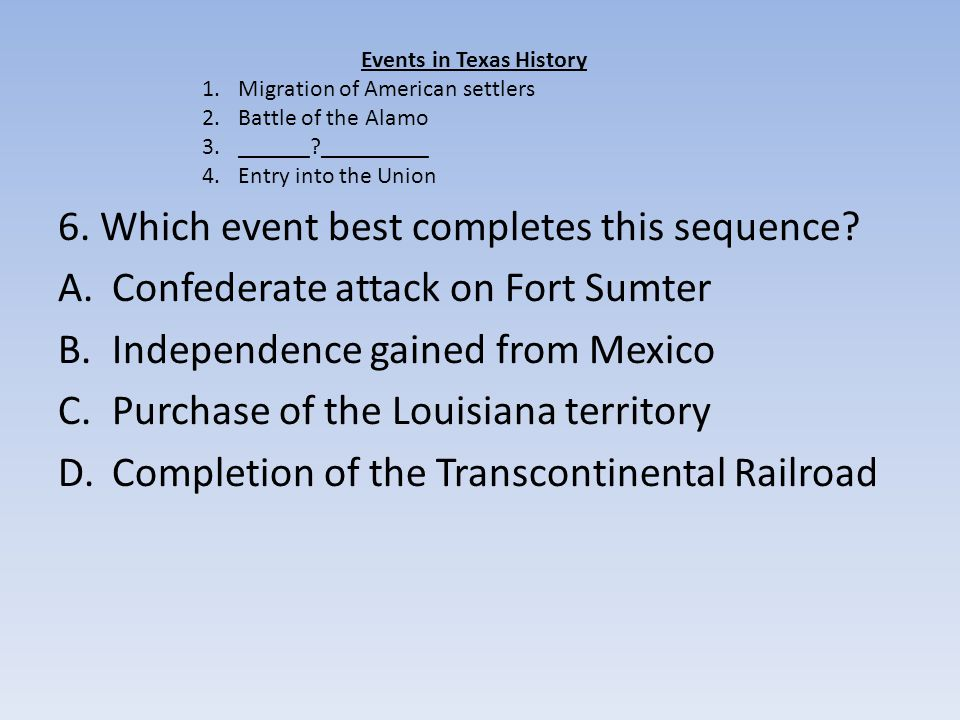 6. Which event best completes this sequence