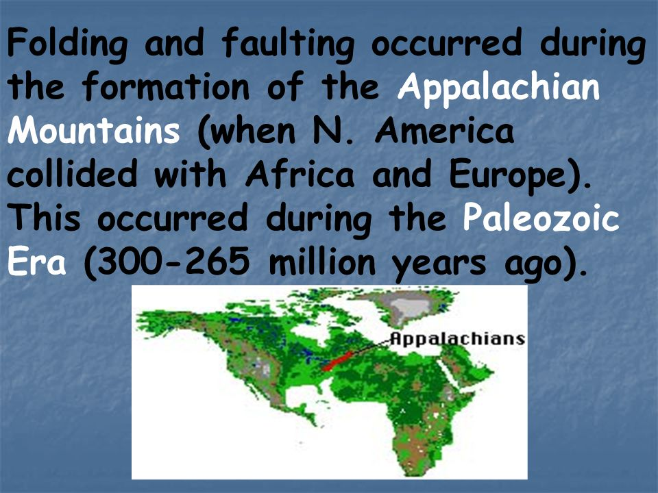 Folding and faulting occurred during the formation of the Appalachian Mountains (when N.