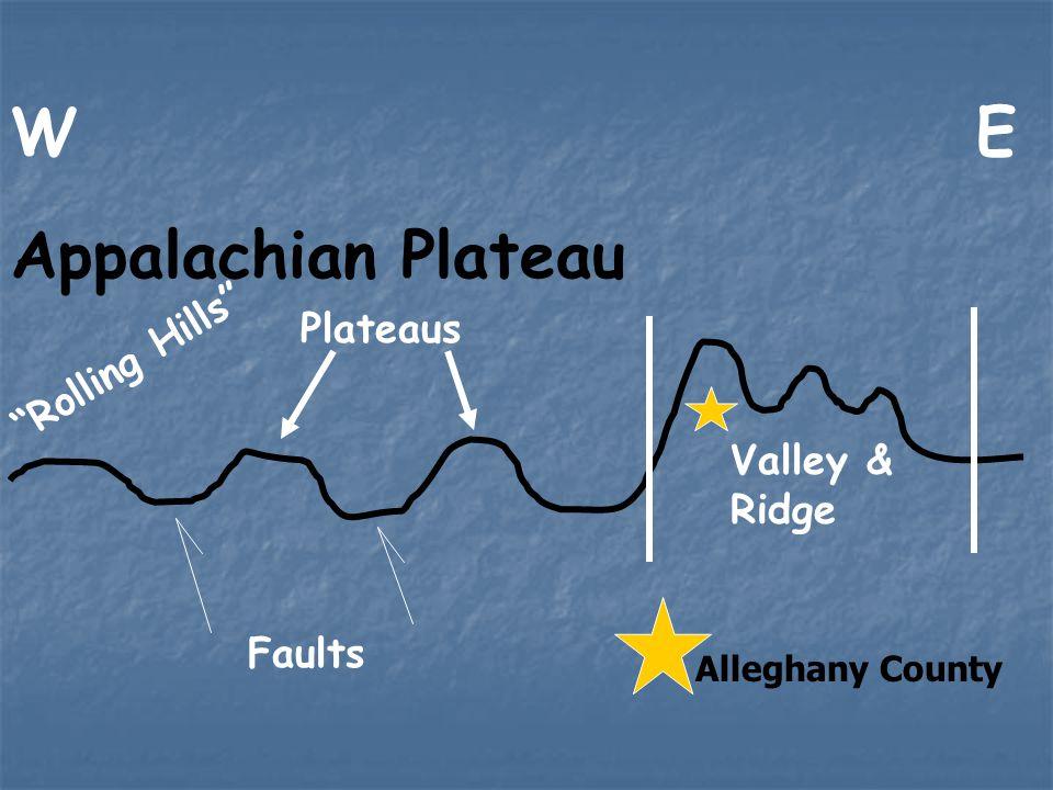 W E Appalachian Plateau Rolling Hills Plateaus Valley & Ridge Faults