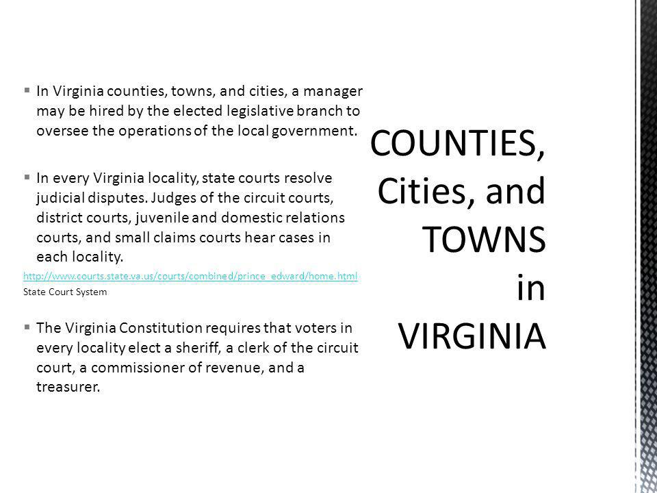 COUNTIES, Cities, and TOWNS in VIRGINIA