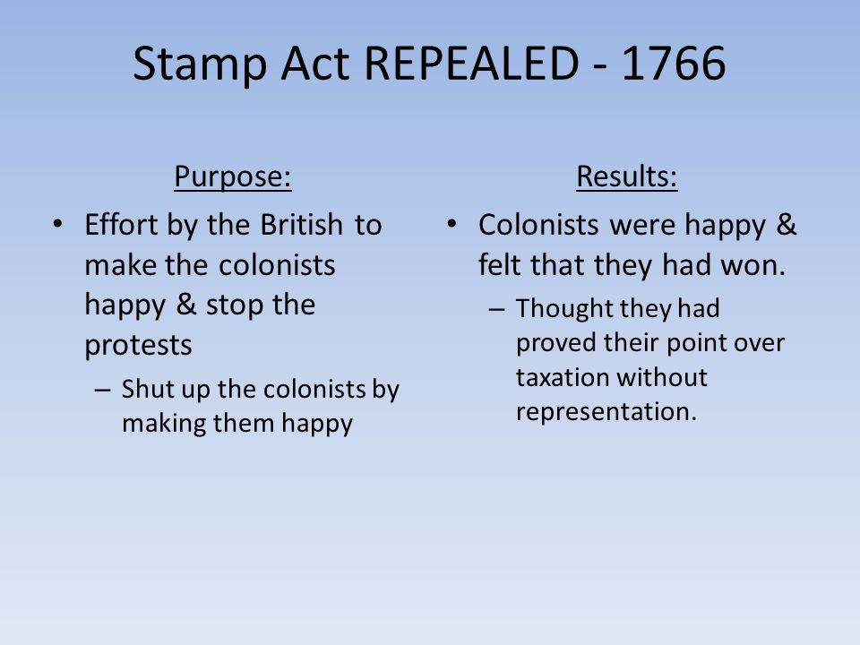 Stamp Act REPEALED - 1766 Purpose: