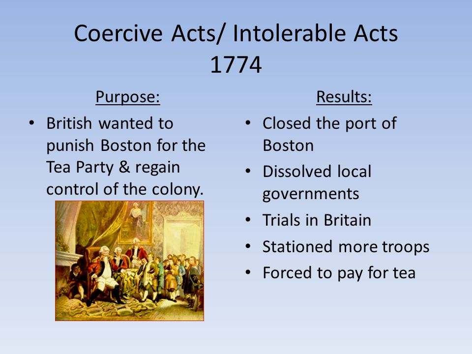 Coercive Acts/ Intolerable Acts 1774
