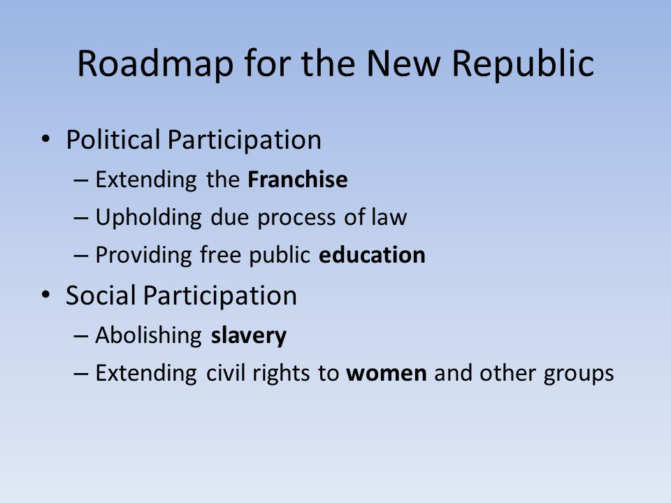 Roadmap for the New Republic