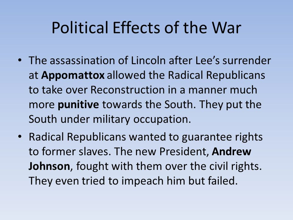Political Effects of the War