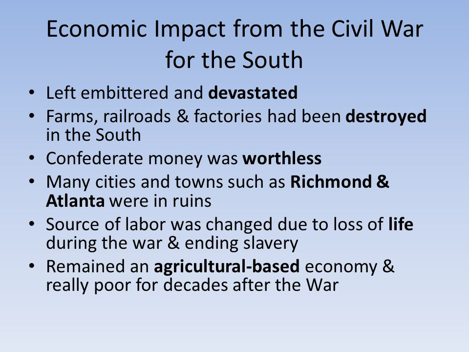 Economic Impact from the Civil War for the South