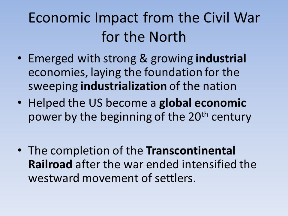 Economic Impact from the Civil War for the North