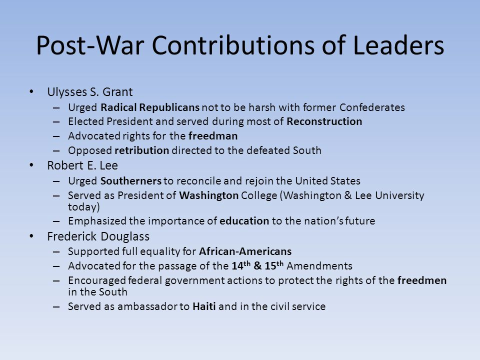 Post-War Contributions of Leaders