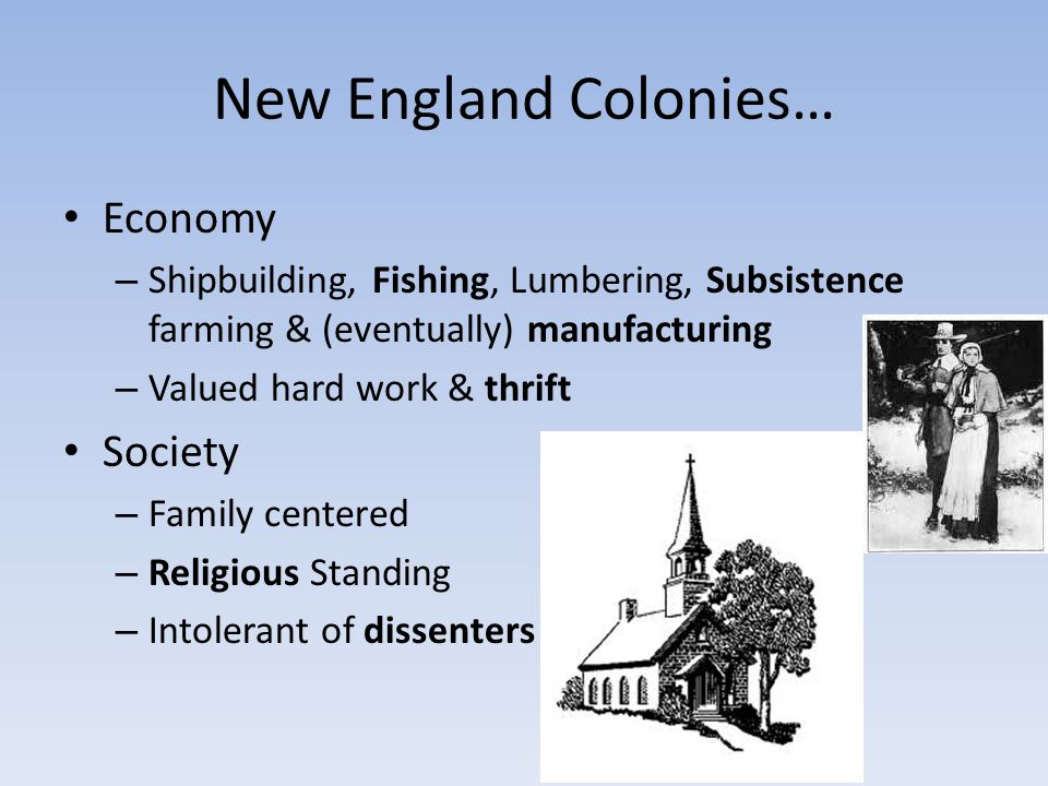 New England Colonies… Economy Society