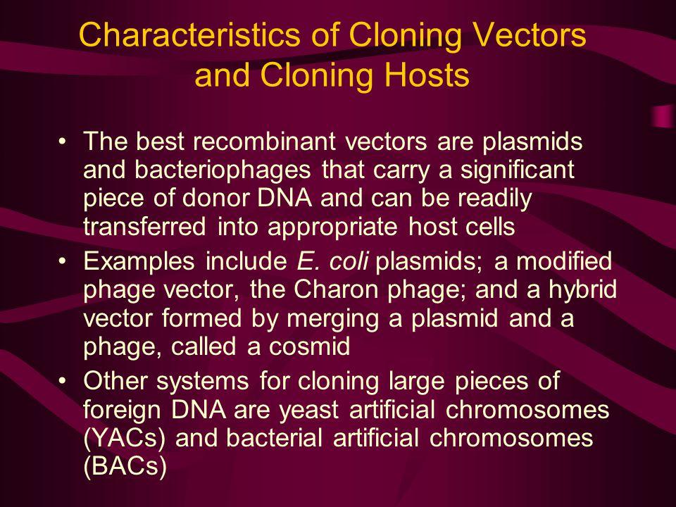 Characteristics of Cloning Vectors and Cloning Hosts