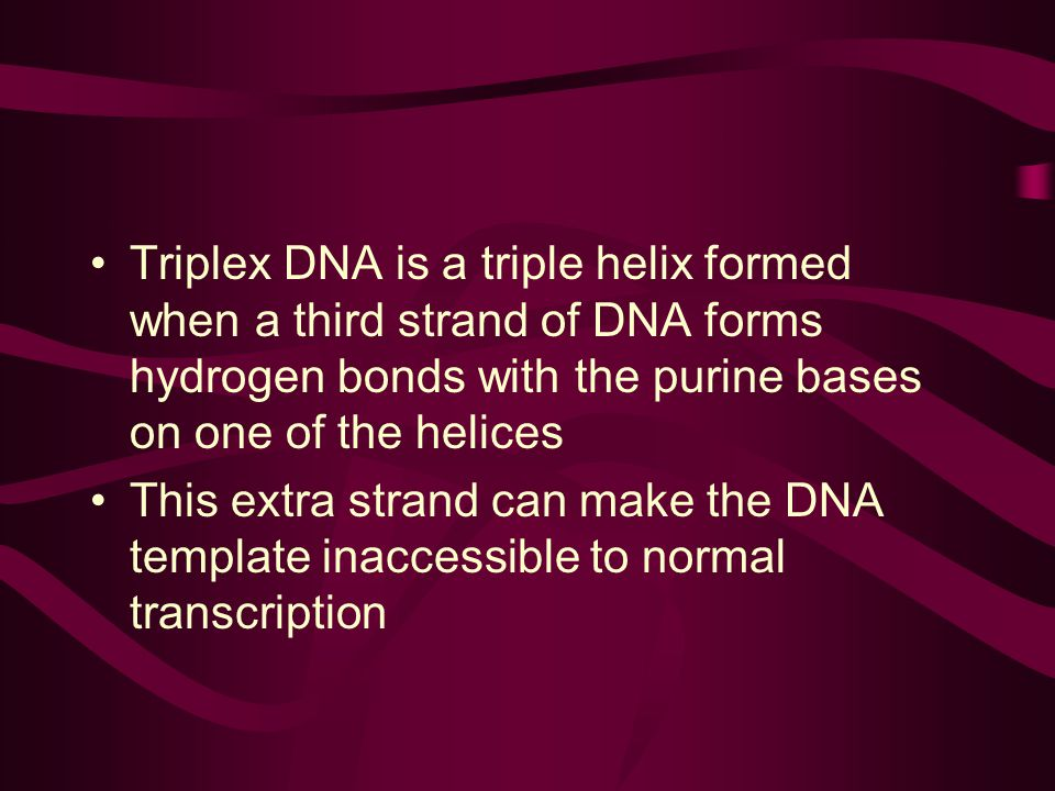 Triplex DNA is a triple helix formed when a third strand of DNA forms hydrogen bonds with the purine bases on one of the helices