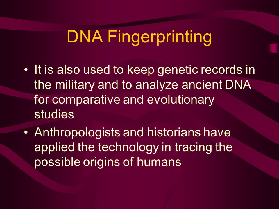 DNA Fingerprinting It is also used to keep genetic records in the military and to analyze ancient DNA for comparative and evolutionary studies.