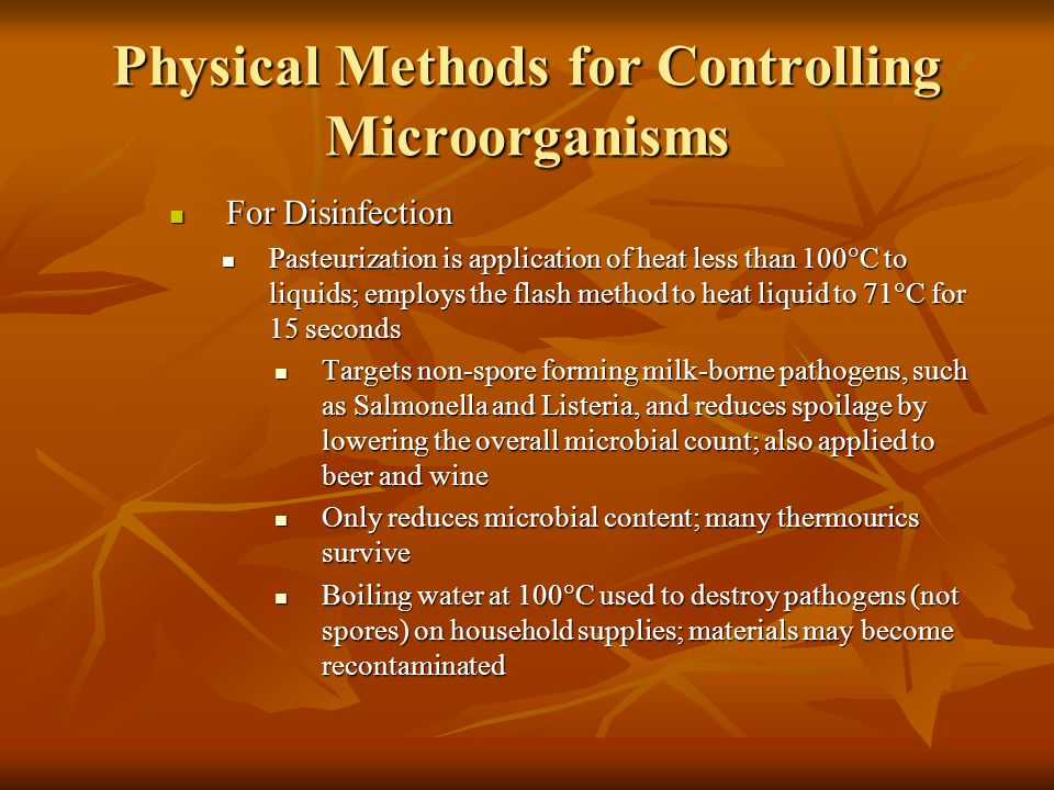 Physical Methods for Controlling Microorganisms