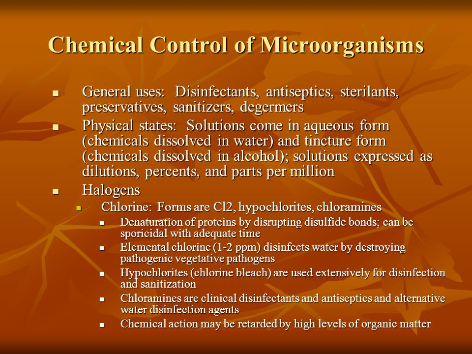 Chemical Control of Microorganisms