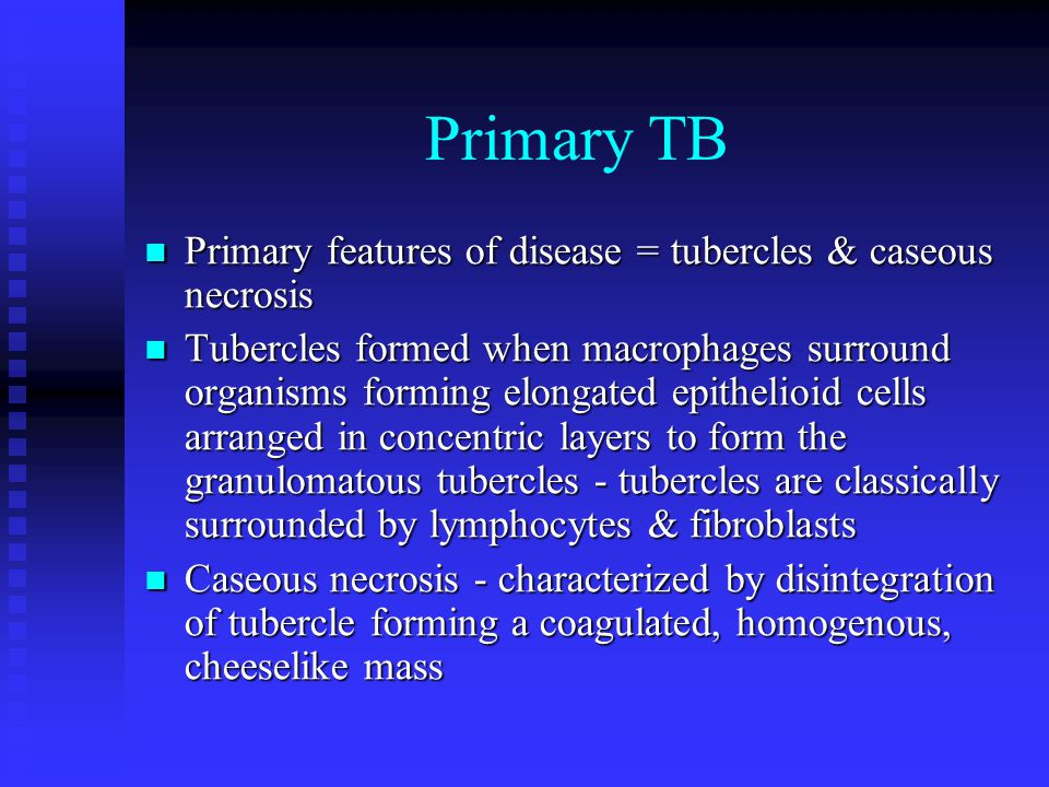 Primary TB Primary features of disease = tubercles & caseous necrosis