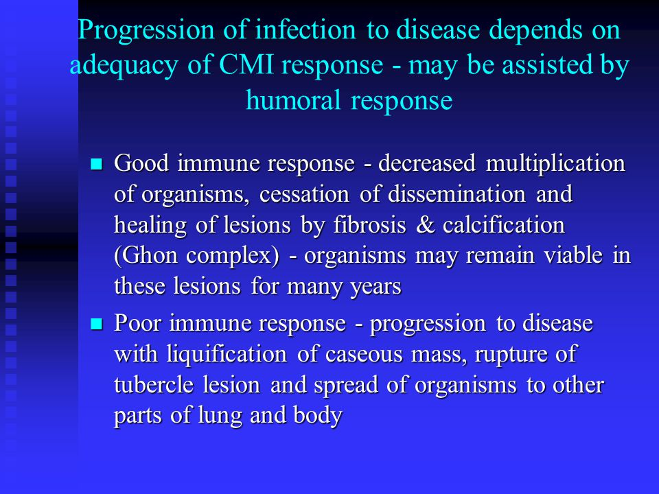 Progression of infection to disease depends on adequacy of CMI response - may be assisted by humoral response