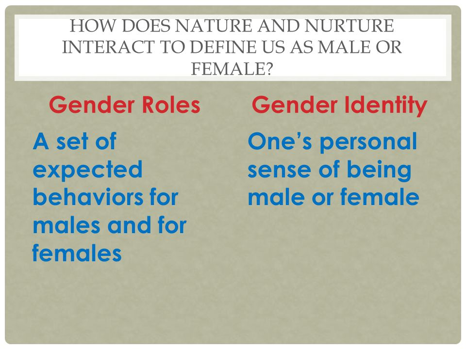 How does Nature and nurture interact to define us as male or female