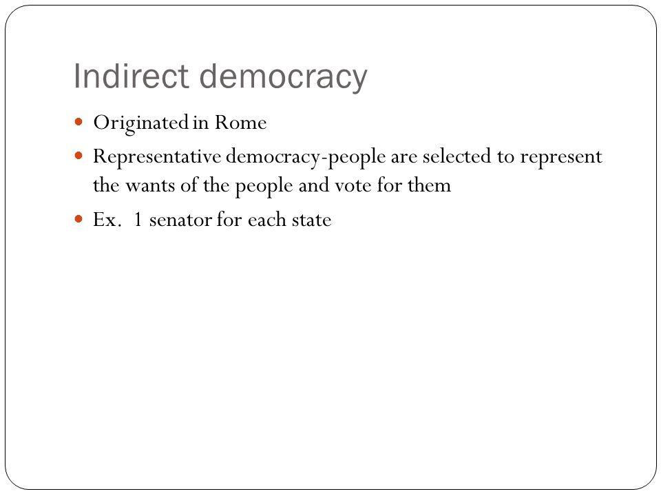 Indirect democracy Originated in Rome