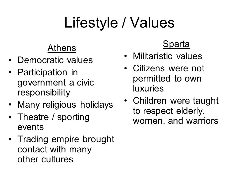 Lifestyle / Values Sparta Athens Militaristic values Democratic values